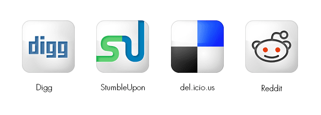 Social media submission sites logo's